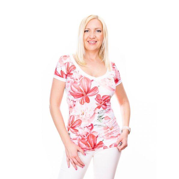 korall színű virágmintás felső, rucy fashion virágmintás felső, v nyakú rövidujjú