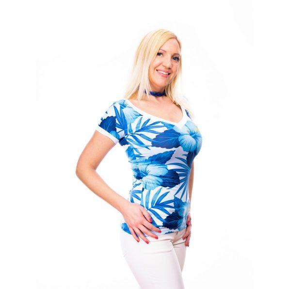 kék virágos felső, V-nyakú felső, rövidujjú felső
