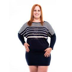 sötékék-drapp csíkozású extra méretű tunika, rucy fashion őszi plus size tunika, molett csíkos ruha