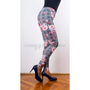 rózsamintás leggings, kockás-rózsás leggings, tavaszi leggings, alkalmi leggings,