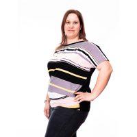 9364320439 pasztel színű plus size ruha, púder színű plus size tunika, csíkos alkalmi  ruha,