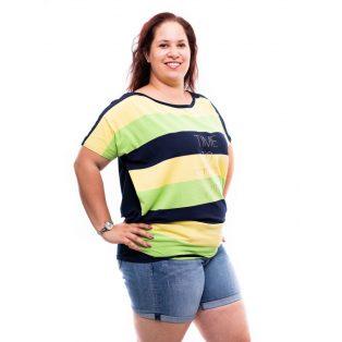 kiwizöld csíkos extra bő fazonú felső, plus size nyári tunika, rucy fashion plus size,