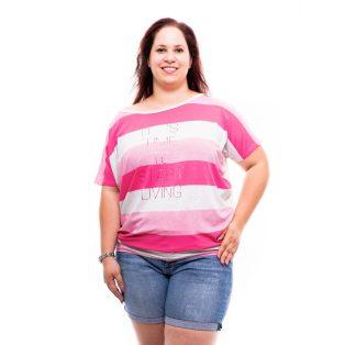 rózsaszínű csíkos plus size felső, rucy fashion plus size,