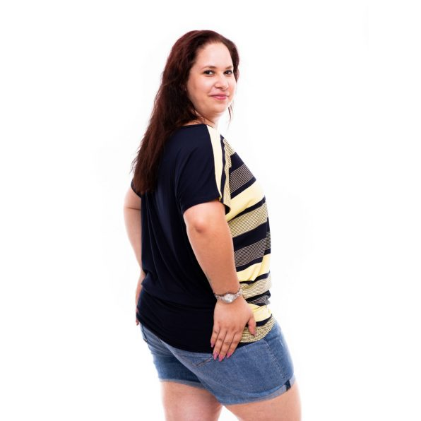 sárga-kék csíkos plus size tunika, nyári plus size felső, rucy fahsion plus size tunika