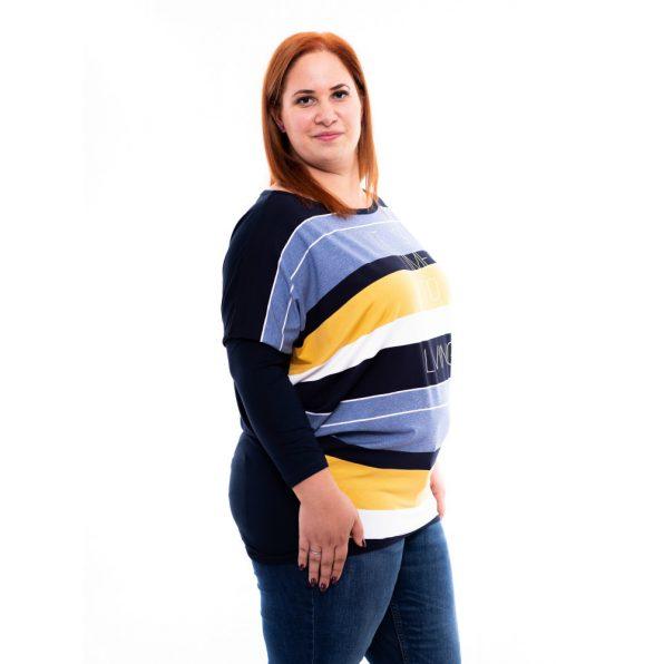 plus size csíkos tunika, rucy fashion extra, molett denevér fazonú tunika, csíkos őszi tunika