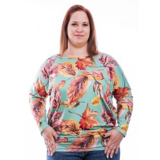 Rucy Fashion Plus Size őszi falevél minás lezser hosszú ujjú női felső