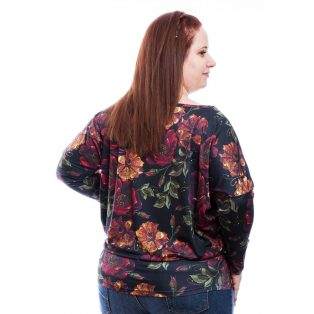 Rucy Fashion Plus Size fekete alapon virágmintás, hosszú ujjú, lezser, női felső