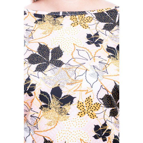 Rucy Fashion Plus Size bézs alapon levél mintás lezser, hosszú ujjú, női felső