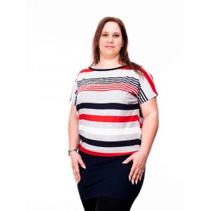 Plus Size méretű tunika (melírszürke-sötétkék-piros csíkozással)