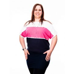 pink-sötékék plus size tunika, háromszínű plus size tunika, nagyméretű tunika, nagyméretű női ruha