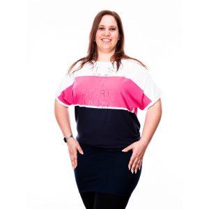 Plus Size méretű tunika (pink-sötétkék)