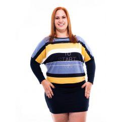 őszies színű csíkos molett tunika, rucy fashion extra méretű termékek, plussize méretű denevér fazon